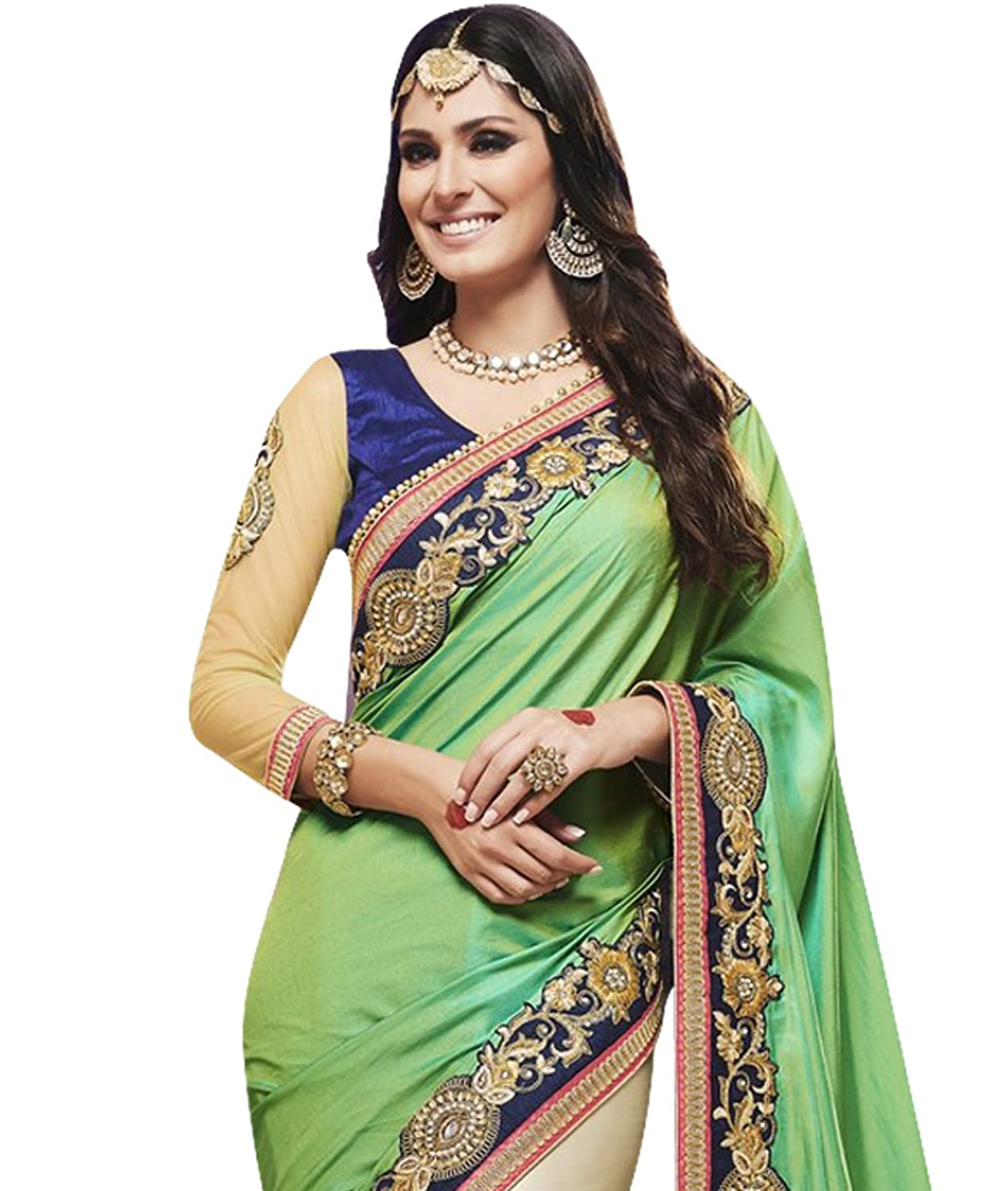 Indian Ethnic Faux Satin Chiffon Light Green and Beige Bridal and Wedding Saree