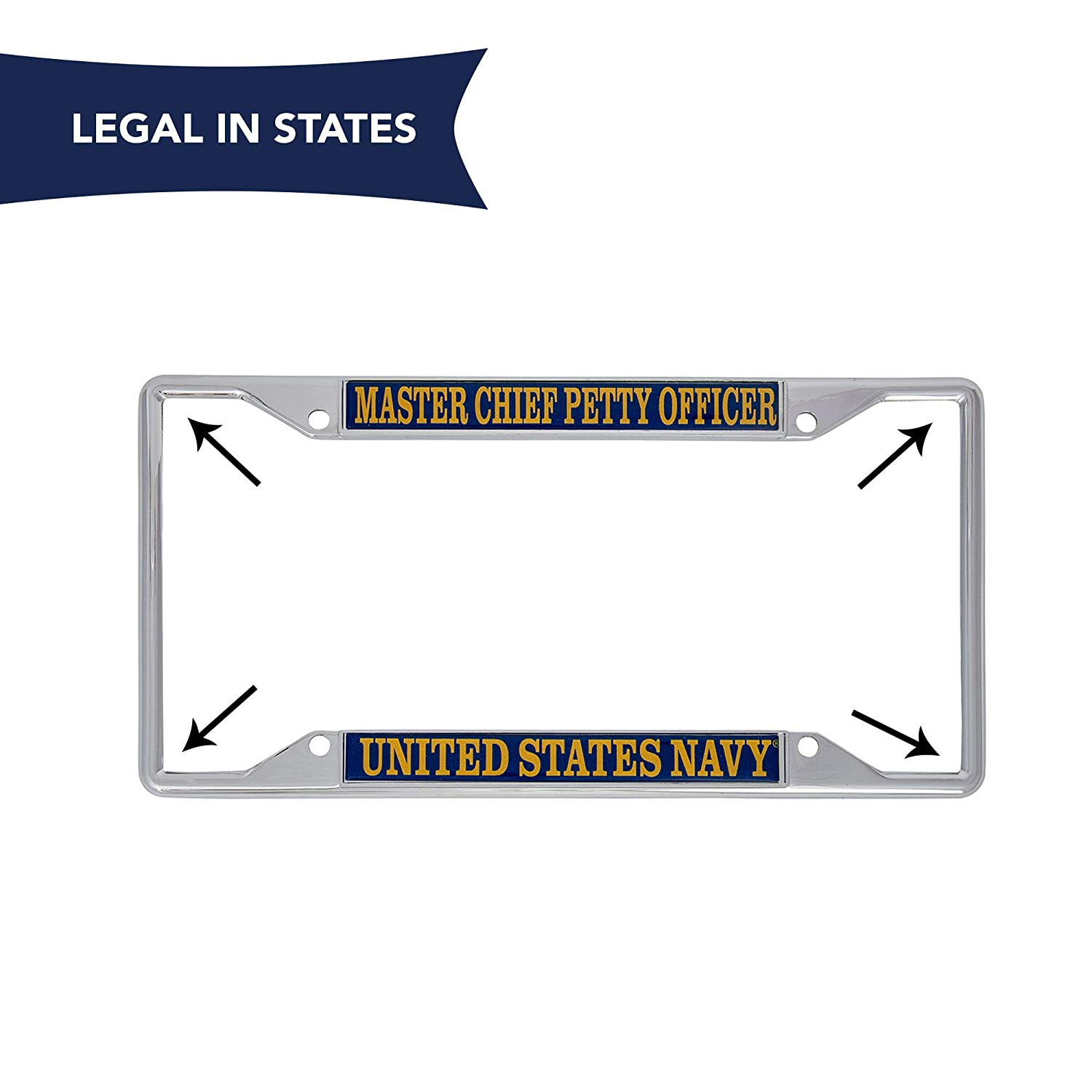 Desert Cactus US Navy Master Chief Petty Officer Enlisted Grades License Plate Frame for Front Back of Car Officially Licensed United States