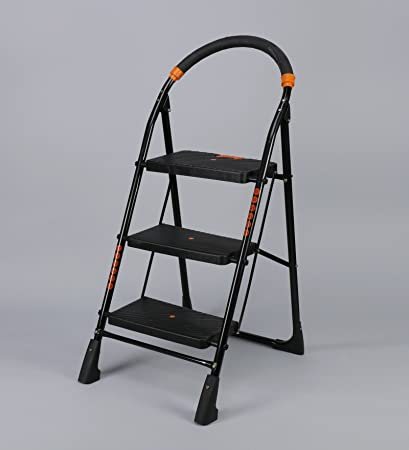 Flipzon Heavy Foldable Cameo 3 Steps Ladder with Wide Steps & Anti-Skid Shoes (Make in India) - Black