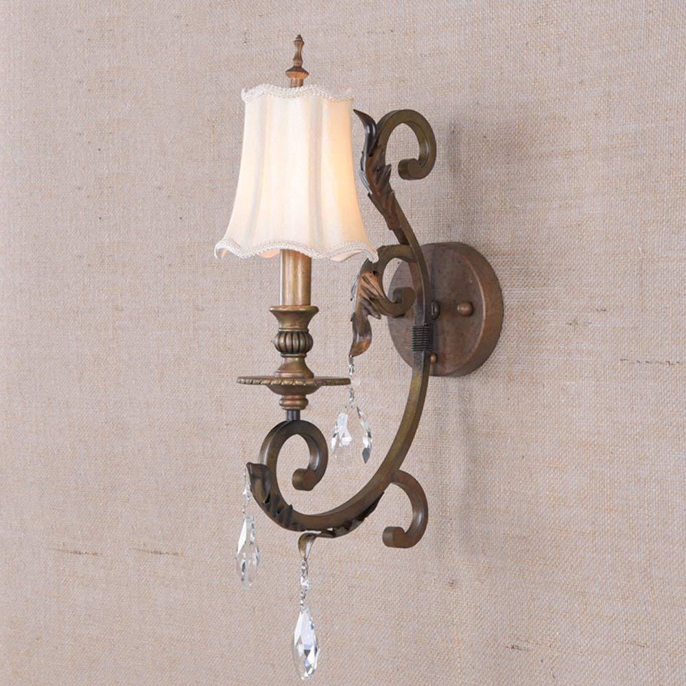 WHKHY Eisen Retro Lampe Wand Lounge Schlafzimmer Nachttischlampe Studie Alte Pastorale Licht Tuch Wandleuchte