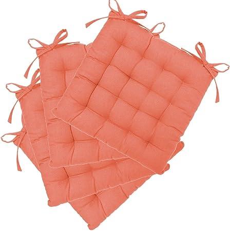 Set di 4 cuscini per sedie, con laccetti 38 x 38 cm Imbottiti, 100% cotone Colore: ROSA ANGURIA