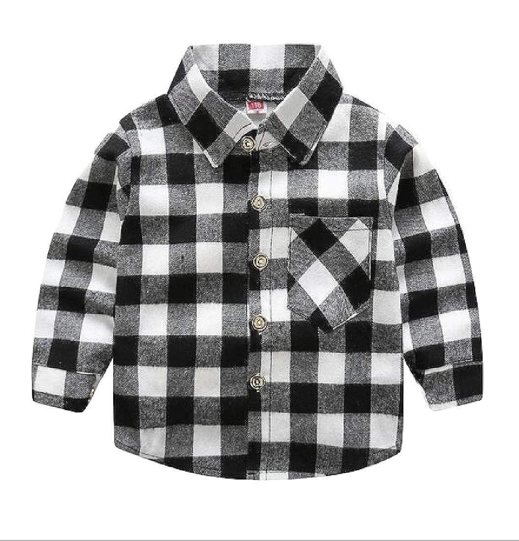Wofupowga Little Kids Boys Graphic Plaid Long Sleeve Casual Button-Down Shirts
