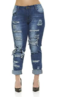 797a2905979 Plus Size Jeans for Women Distressed Repaired Patched Skinny Ripped Jeans