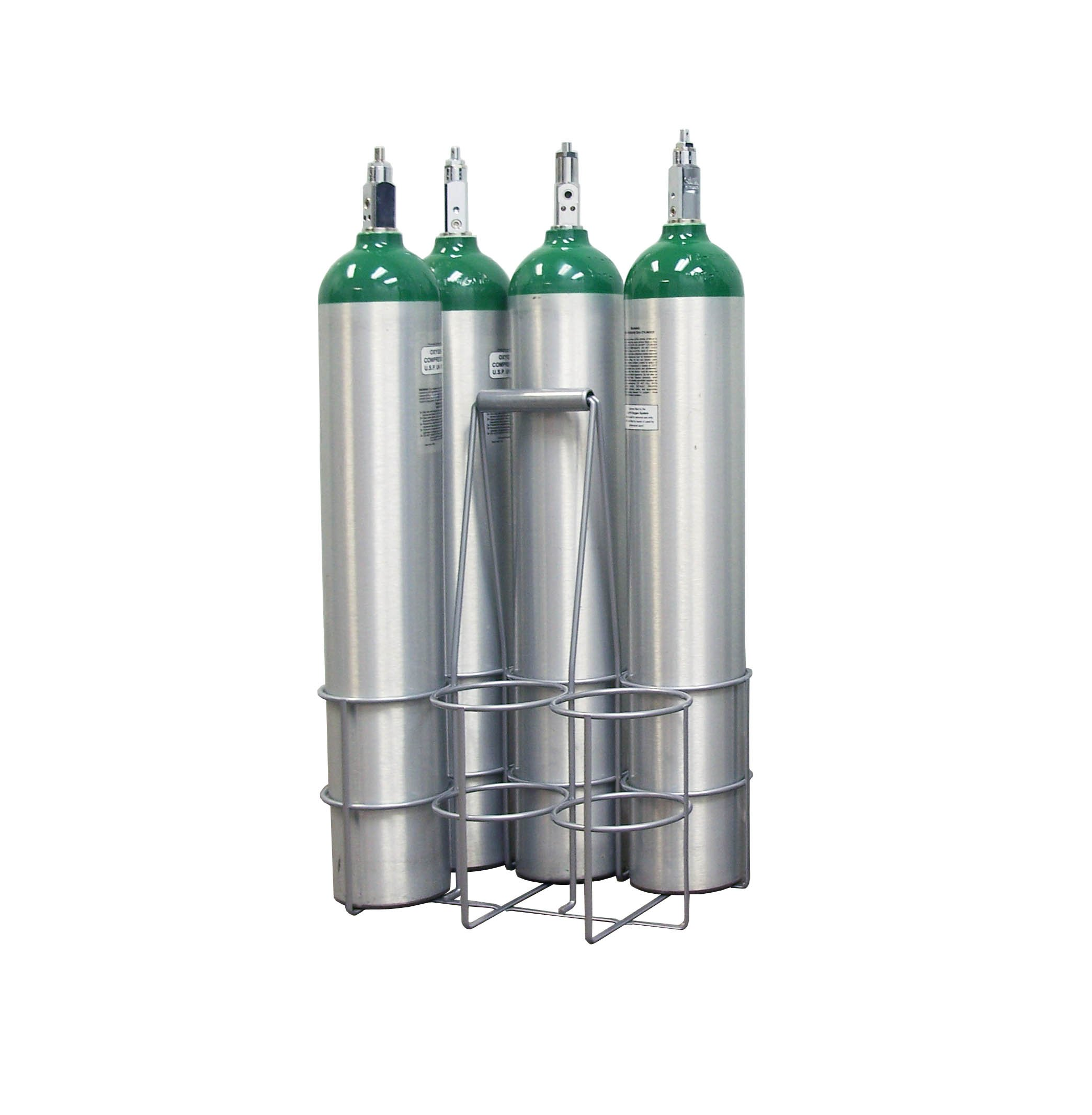 Long Handle Milkman Style Metal Carrier for D/E/M9 Oxygen Cylinders, holds 6 cylinders