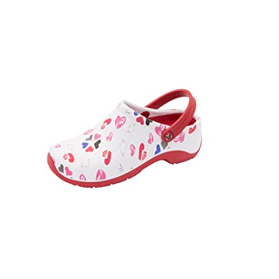 Anywear Women's Zone Health Care Professional Shoe, Multi Heart/White/red,: Shoes