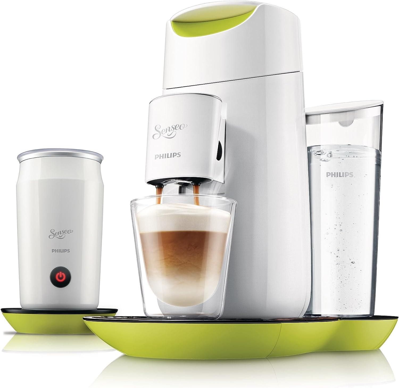 Philips HD7874/10 Senseo Twist & Milk - Cafetera con espumador de leche (pantalla táctil), color verde y blanco: Amazon.es: Hogar