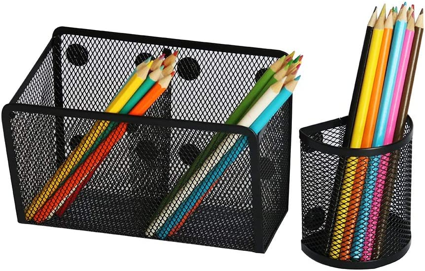 HEXIL - EXTRA 33% STRONGS MAGNETS - Two Mesh Magnetic Basket Pen Holder - Perfect Organizer for Whiteboard Marker Dry Erase Notepad Pencil, Refrigerator Fridge Office and Locker Accessories