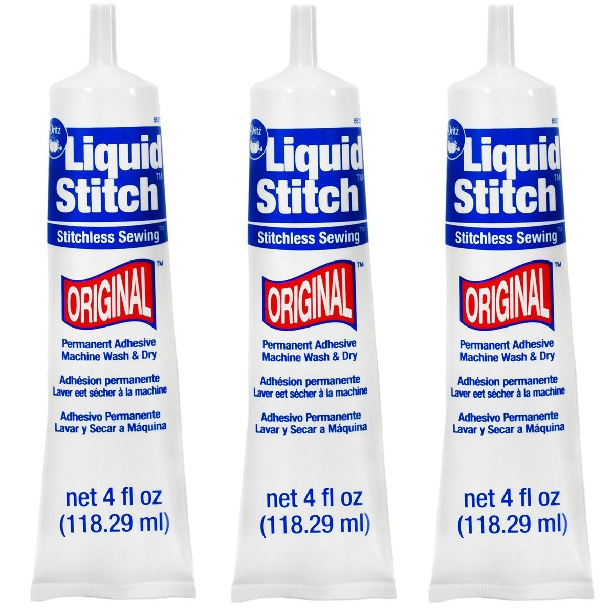 Dritz 653111 Adhesive Uncarded Liquid Stitch, 4-Ounce (3 Pack) Prym Consumer USA