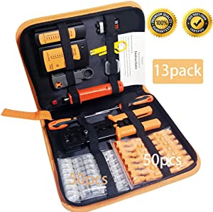 Professional 13 in 1 Network Computer Maintenance Repair Kit,ethernet crimper kit - RJ45 Crimp Tool , RJ45 Network Cable Tester, 50 Pack Pass Through Connectors,Network Wire Stripper,Punchdown Tools