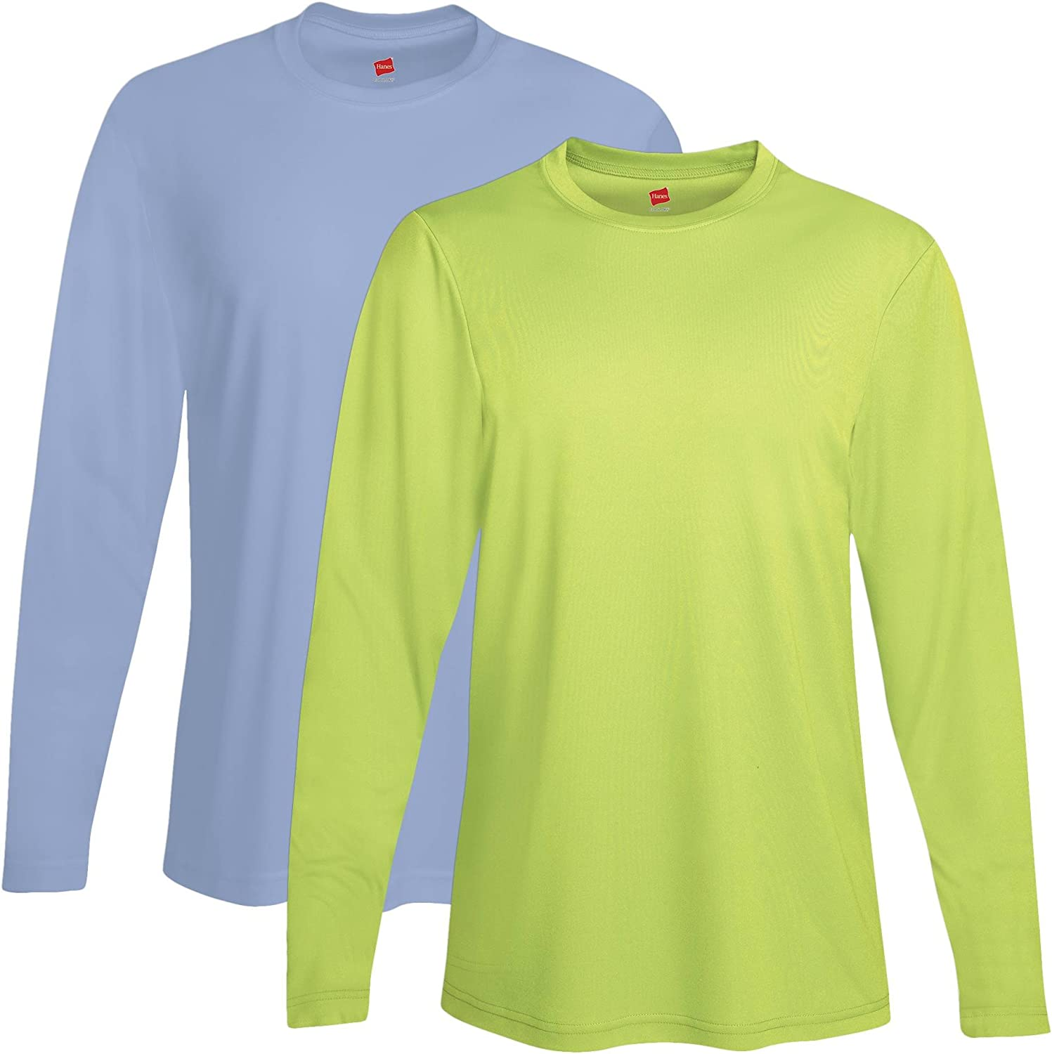 1 Safety Green XXX-Large 1 Light Blue Hanes 482L 100/% Polyester Adult Cool DRI Long-Sleeve Performance T-Shirt