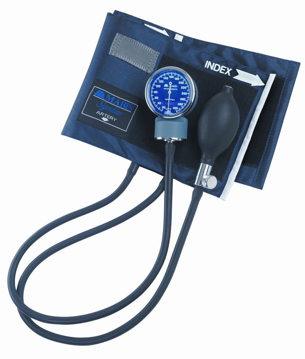 MABIS Signature Series Aneroid Sphygmomanometer with Blue Nylon Cuff for Home or Professional Use, Large Adult, Blue