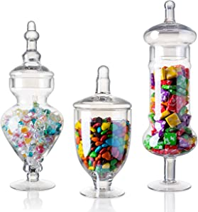 "Diamond Star Set of 3 Glass Apothecary Jars Elegant Storage Jar, Decorative Wedding Candy Organizer Canisters Home Decor Centerpieces (H: 9"", 12.5"", 14"")"