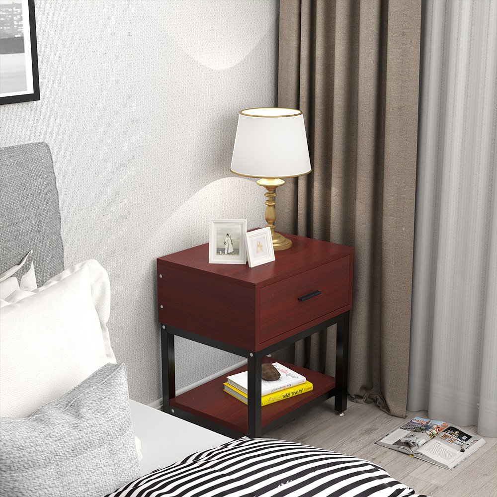 Night Stands, LITTLE TREE Side End Table with Drawer and Shelf for Bed Room Living Room, Beside Table with Storage, Metal Frame & Wood, Cherry by LITTLE TREE (Image #3)