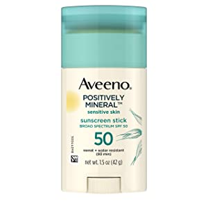 Aveeno Positively Mineral Sensitive Skin Daily Sunscreen Stick with SPF 50 & 100% Zinc Oxide, Sweat- & Water-Resistant Face and Body Zinc Oxide Sunscreen Stick, Fragrance-Free, 1.5 oz