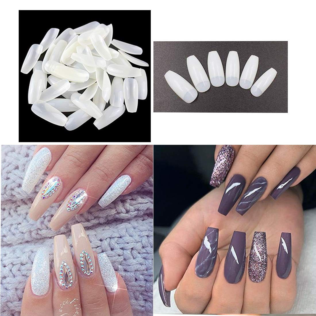 500PCS Natural Long Coffin Nails Ballerina False Nail Tips Artificial Acrylic Fake Nails for Salon and DIY Nail Art Polly Online Shop FN002-2#