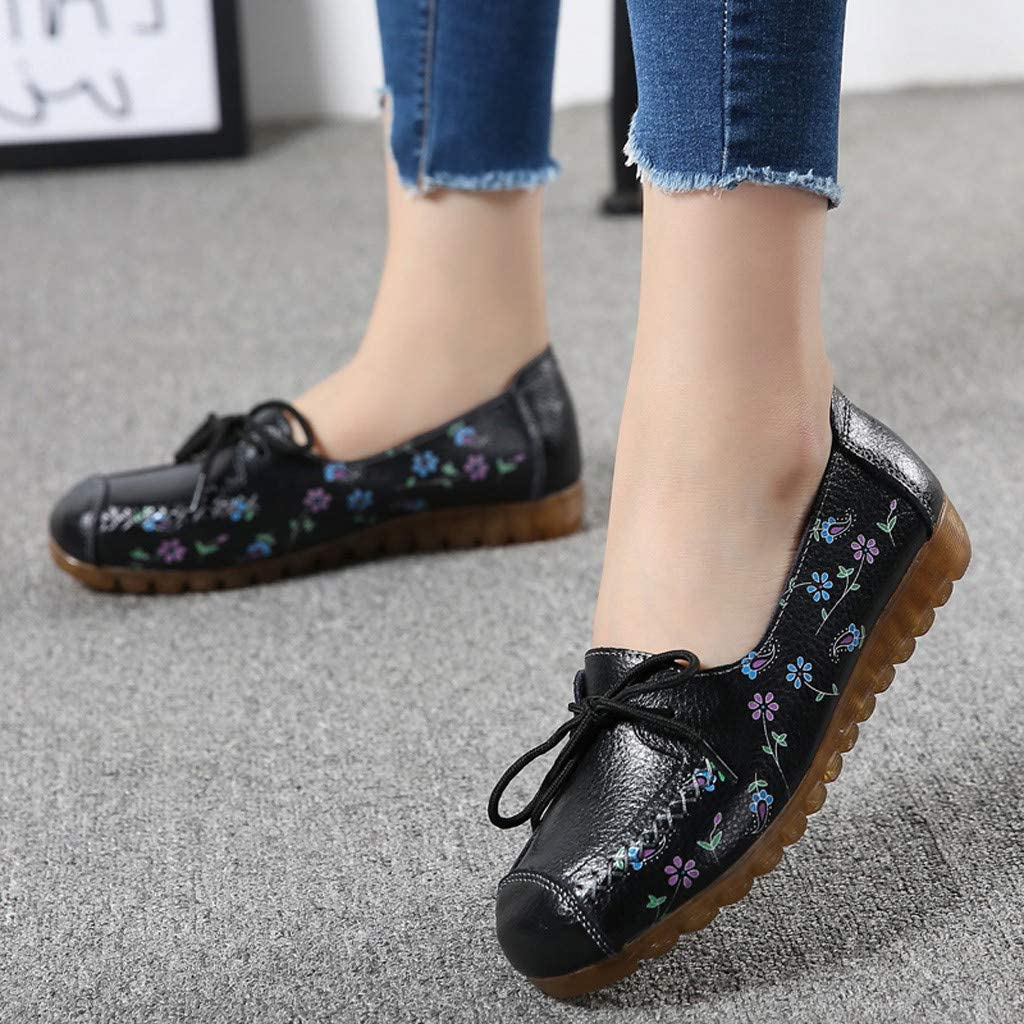 Womens Flat Loafers Flower Printed Lace Up Slip On Boat Shoes Breathable Comfort Non Slip Work Walking Nurse Shoes