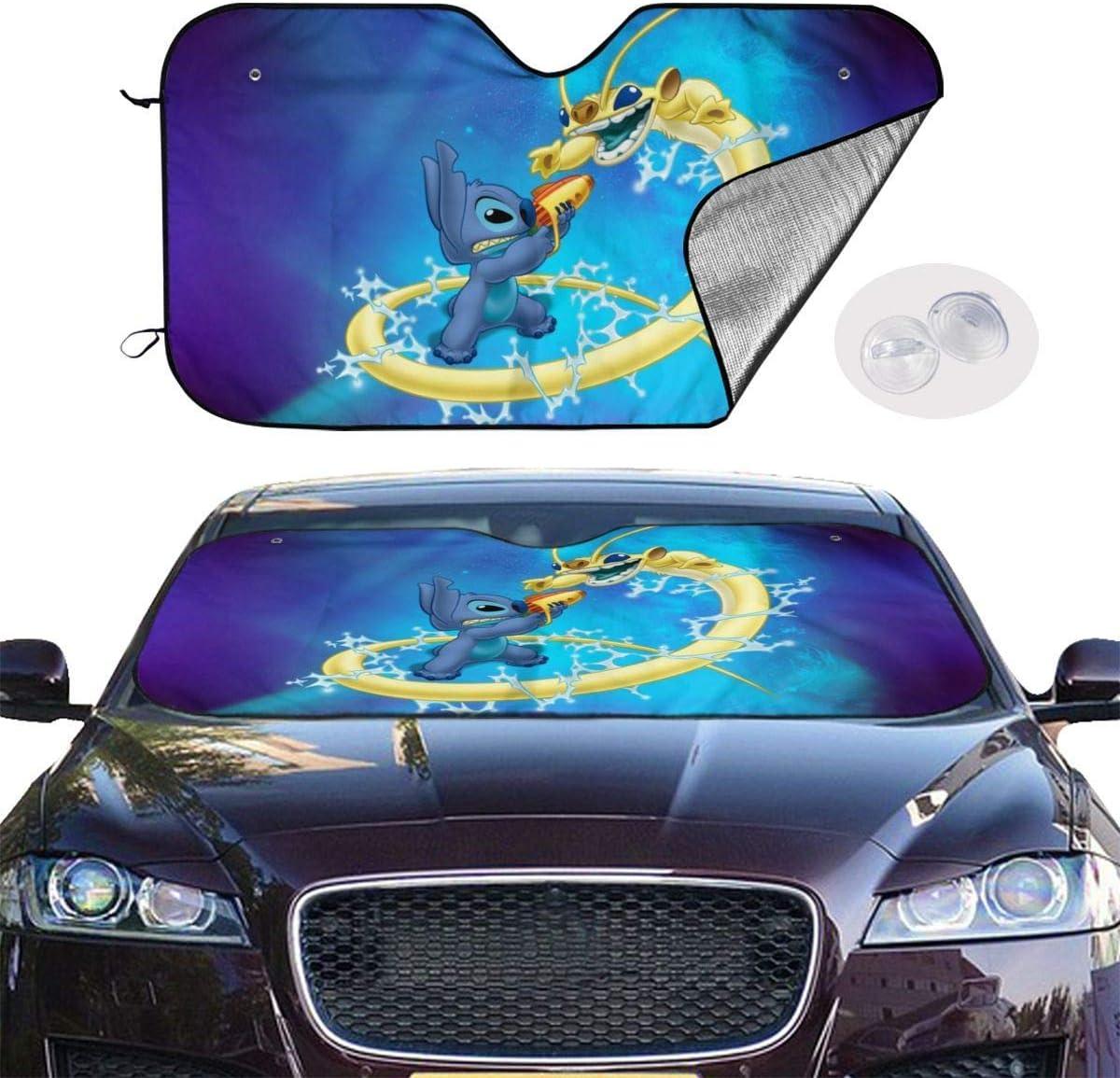 GFHTH Lilo Stitch Windshield Sun Shades Blocks Rayos UV Sun Visor Plegable Car Universal Car Sunshades Shield Protector de la Cubierta con 4 ventosas 30x55 Pulgadas