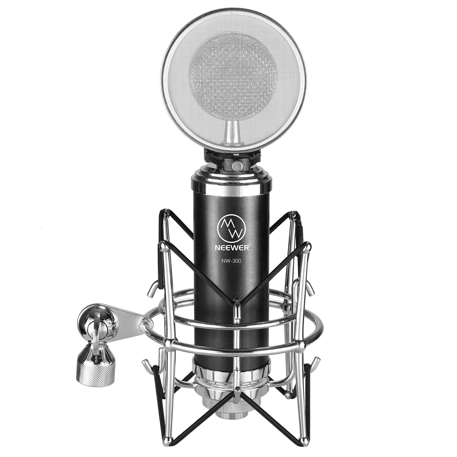 Neewer NW-500 Professional Condenser Microphone Kit: (1) Condenser Microphone + (1) Integrated Metal Pop Filter + (1) Shock Mount + (1) 3.5MM to XLR Microphone Cable