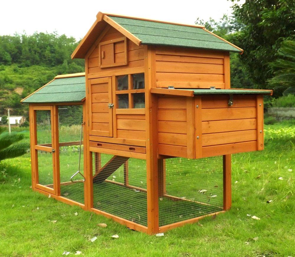 Hühnerstall Hühnerhaus Geflügelstall Nr. 06 Collosus mit Gehege, ausziehbar Wanne & Legebox
