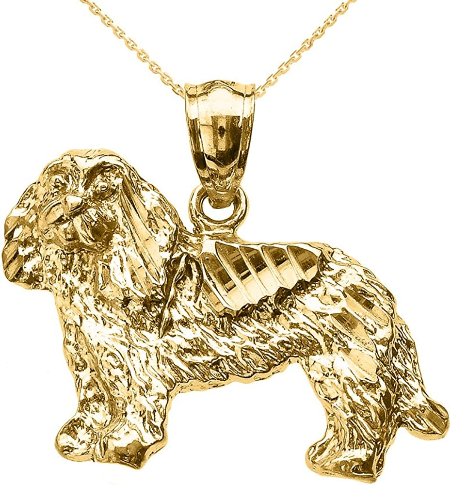 Textured 10k Yellow Gold King Charles Spaniel Dog Pendant Necklace