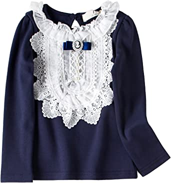 FCQNY Kid Girl Long Sleeve Ruffled Leaf Collar Pullover Cotton Blouse Casual Tops