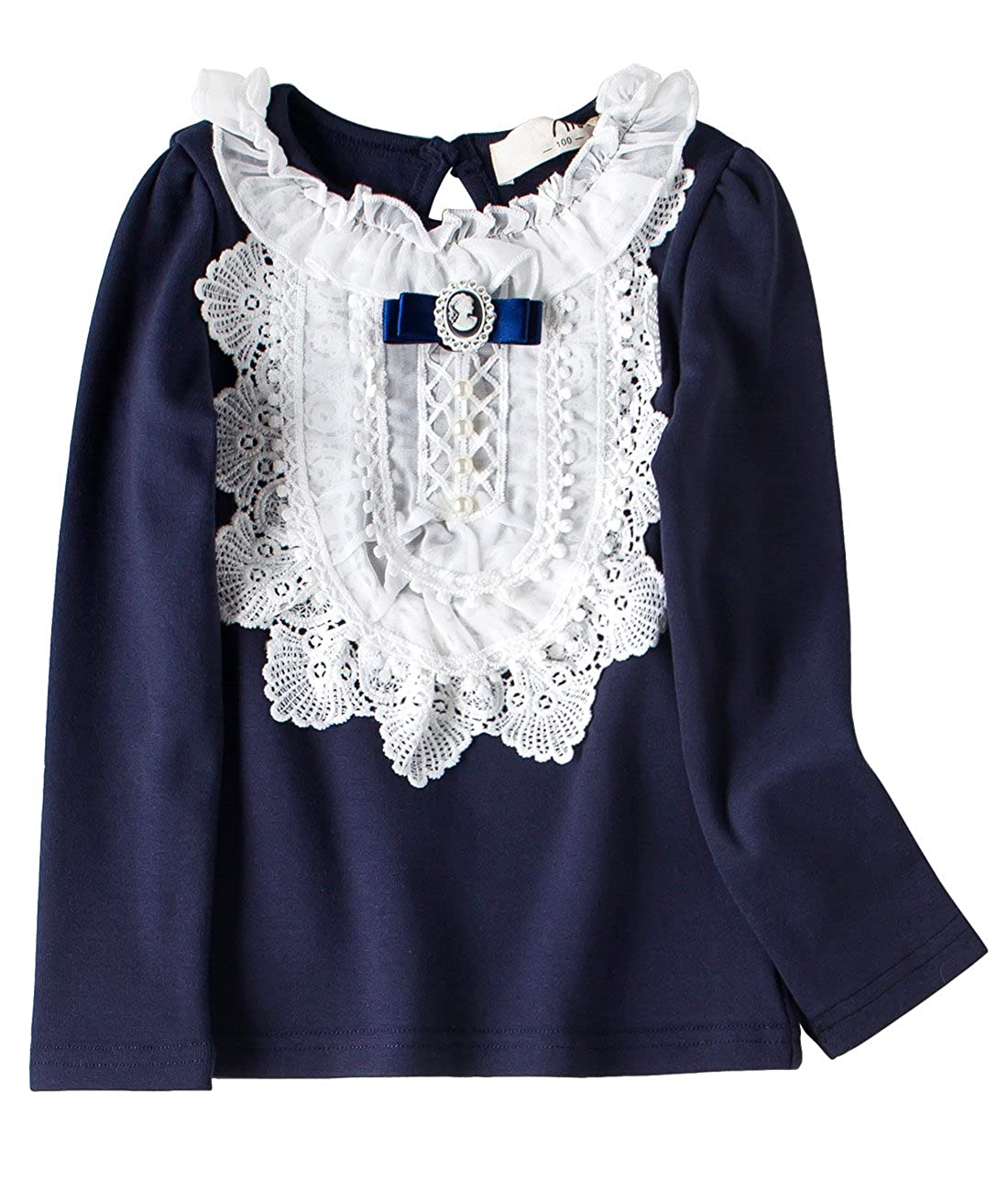 fcd60bc5 Amazon.com: VYU Little Girls Long Sleeve Winter Blouse 2-8 Year Kids Cotton  Lace Tops: Clothing