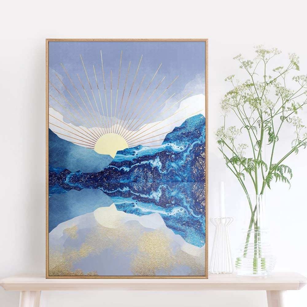Yumknow Abstract Nature Wall Art - Boho Wall Art for Bedroom Wall Decor for Living Room Pictures for Wall Prints, Unframed 16x20 inch, Mountain Decor, Sunset Wall Art, Moon Poster,Modern Tree Wall Art