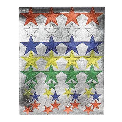 Amazon Com Hygloss Products Colored Foil Star Stickers Shiny