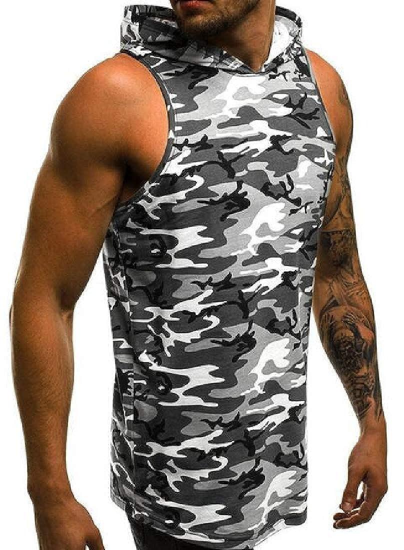 WAWAYA Mens Sleeveless Running Trainning Casual Active Camo Hooded Tank Top T-Shirt Tee