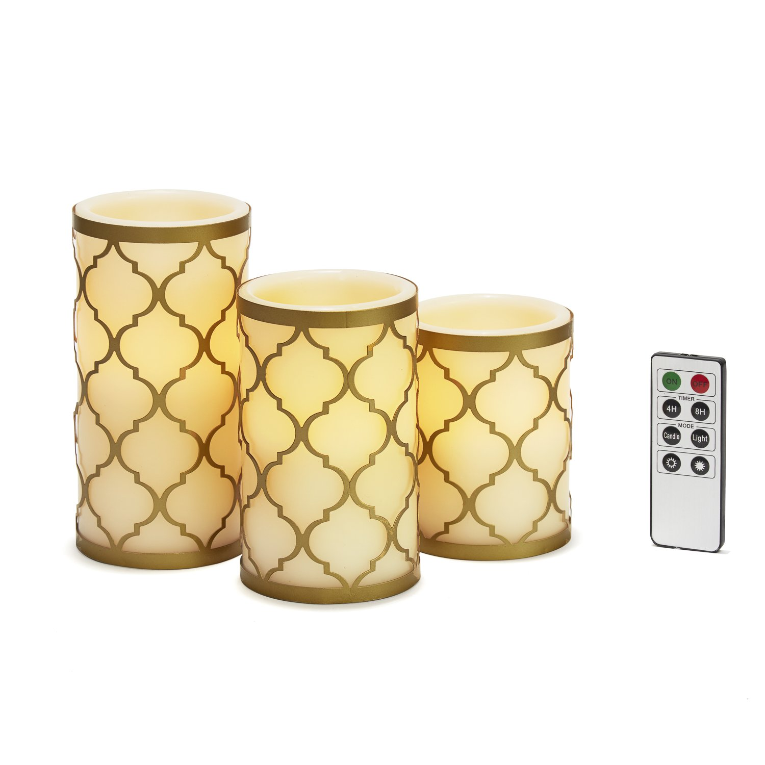 Flameless Ivory Pillar Candles- Brass Removable Candle Holders, Warm White LED Glow, Remote and Batteries Included, Moroccan Style Decorative Candle Set of 3