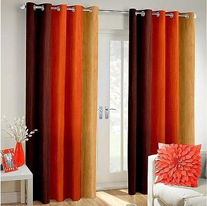 Weavers Villa Polyester Blend Striped Window Curtains Set Of 2 Orange 5 Feet Window
