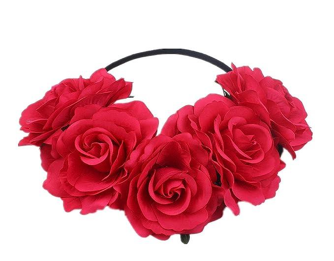 Corona De Flores Diadema Elástica De Flores Rosas Rojas Accesorio