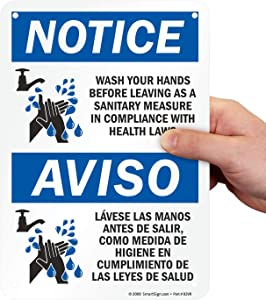 "SmartSign ""Notice - Wash Your Hands Before Leaving"" Sign 