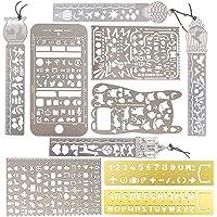 10pcs Plantillas Dibujo Reglas Metal Stencil Pintura Letras