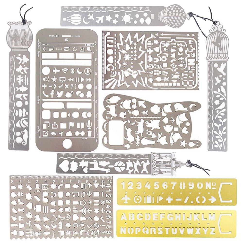 10 pcs Gabarits de Peinture Portable en Acier Inoxydable Pochoir de Dessin Modèle Règle Multifonctions Dessin Modèle Portable (10PCS) AONER
