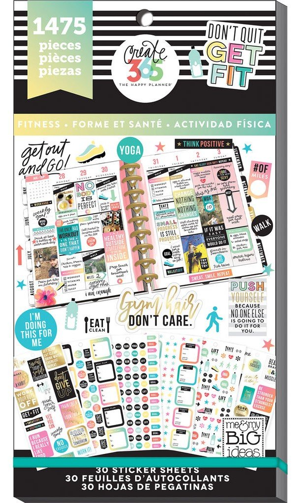 Bundle Create 365 The Happy Planner Fitness Extension Pack & Fitness Value Pack, 1475 Stickers