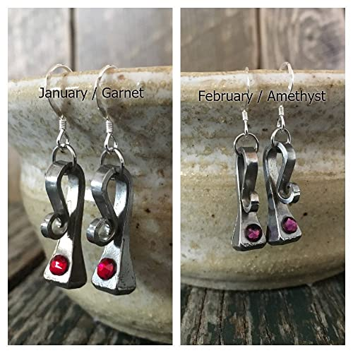 c2ea05b12 Amazon.com: Horseshoe Nail Equestrian Swarovski Crystal Birthstone Earrings:  Handmade