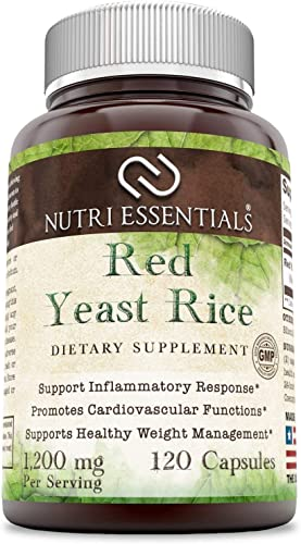 Nutri Essentials Red Yeast Rice 1200 Mg Per Serving, 120 Capsules – Supports Inflammatory Response – Promotes Cardiovascular Functions – Supports Healthy Weight Management