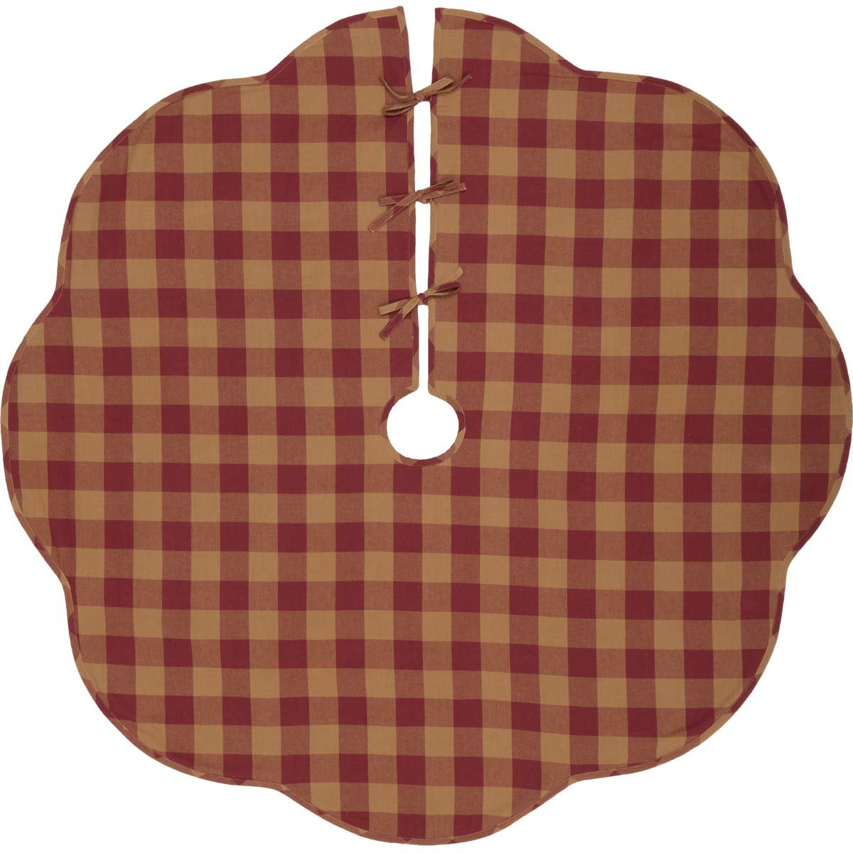 VHC Brands Primitive Holiday Decor - Burgundy Check Red Scalloped Tree Skirt, 60''