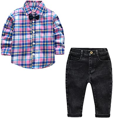QTONGZHUANG Traje de Niños Niño Camisa a Cuadros Púrpura Camisa de Caballero de Manga Larga Pantalones Vaqueros del Tesoro de los Hombres Largos Pantalones de Camisa: Amazon.es: Ropa y accesorios