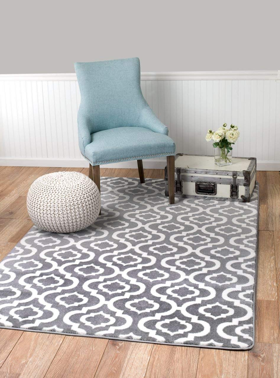 Summit S27 New Moroccan Gray Trellis Rug Modern Abstract Rug 8 x11 Actual is 7 .4 X 10 .6
