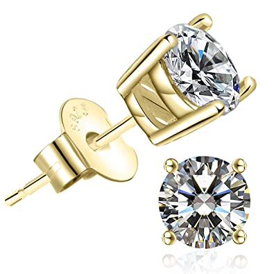 Stud Earrings For Women - 14k Gold Plated Cubic Zirconia Earrings   Amazon.co.uk  Jewellery 490601db7c