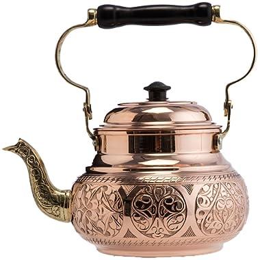 DEMMEX 2017 Hammered Copper Tea Pot Kettle Stovetop Teapot, 1.6-Quart (Engraved Copper)