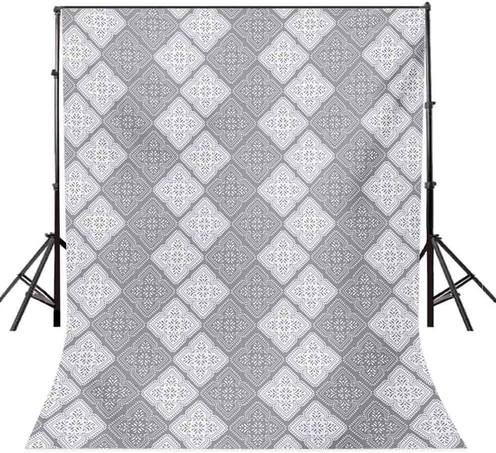 Celtic 8x10 FT Backdrop Photographers,Monochrome Four Leaf Clover Flower Shaped Authentic Timeless Celtic Form Gaelic Background for Baby Birthday Party Wedding Vinyl Studio Props Photography