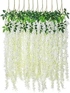 Artificial Silk Wisteria Vine Rattan Garland Fake Hanging Flower Wedding Party Home Garden Outdoor Ceremony Floral Decor,4.6 ft, 6 Pieces (White-3)