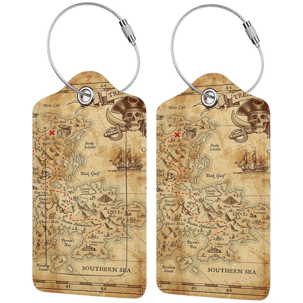 Vector Pirate Treasure Travel Luggage Tags Information Labels With Full Back Privacy Cover For Suitcase//Baggage//Boarding Case//Backpack