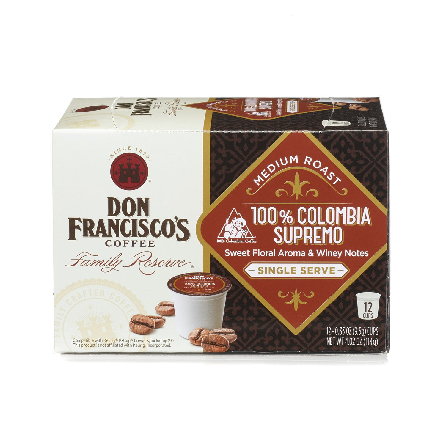 Don Francisco's 100% Colombia Supremo, Premium 100% Arabica Coffee Beans, Medium Roast, Single Serve Pods for Keurig,  Family Reserve, 6 -12 Count (72 Total) by Don Francisco