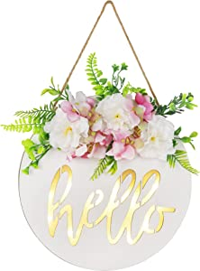 SAND MINE LED Lighted Welcome Sign for Front Door Decor, Wooden Hanging Hello Door Sign, Hanging Welcome Sign for Farmhouse Front Porch Spring Decorations