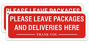 Please Leave Packages and Deliveries Here Sign, Fade Resistant Aluminum Metal for Home and Business Use, Easy Mounting Indoor or Outdoor Use (2 Pack, 10 x 3.5 inches)