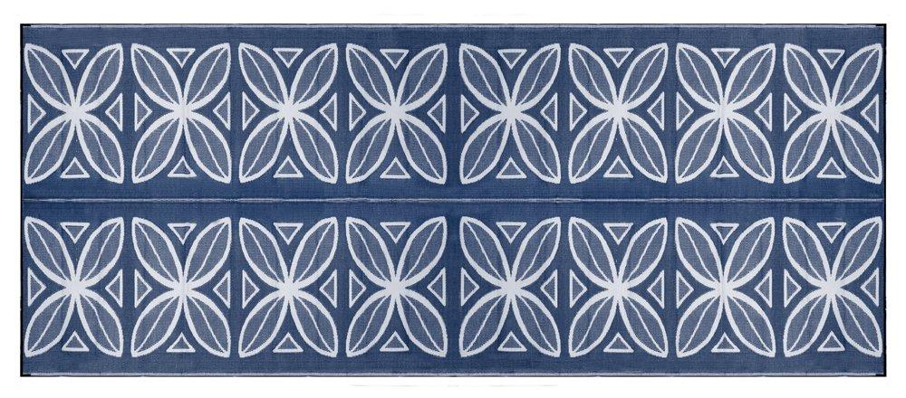 Camco 42831 Stuoia Reversibile per Esterni, 2.44 x 6.1 m, Blu con Motivi Vegetali